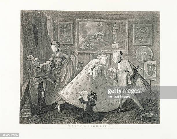 Taste in High Life 18th century A man and woman politely bow and curtsey before each other dressed in what they believe is the height of fashion The...