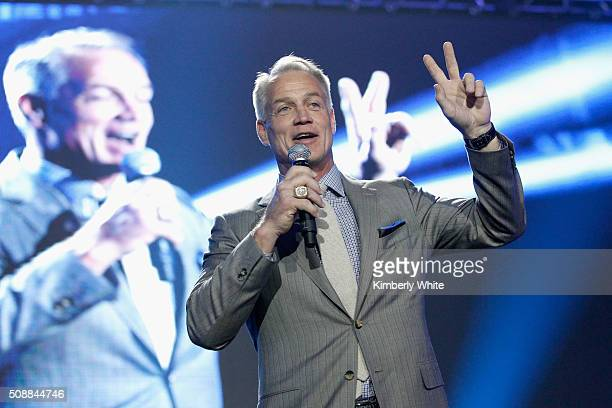Taste of the NFL Board Member Daryl Johnston speaks onstage during Taste of the NFL 25th anniversary Party With A Purpose at Cow Palace on February 6...