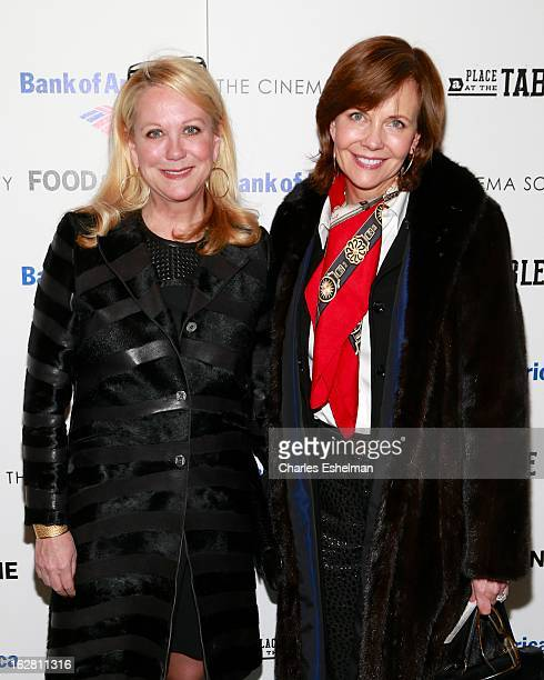 Tastemakers Nina Griscom and Frances Schultz arrive at Bank of America and Food Wine with The Cinema Society present a screening of 'A Place at the...