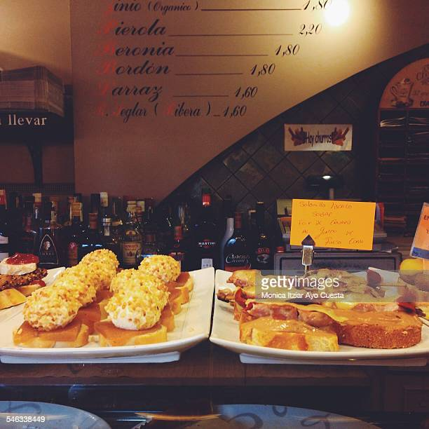 Tastes of Bilbao 'Pintxos' are a small snacks typically eaten in bars especially popular in the Basque country Bilbao January 2015