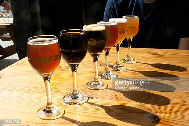 A tasting flight of beers is available at Hair of the Dog in Portland Oregon