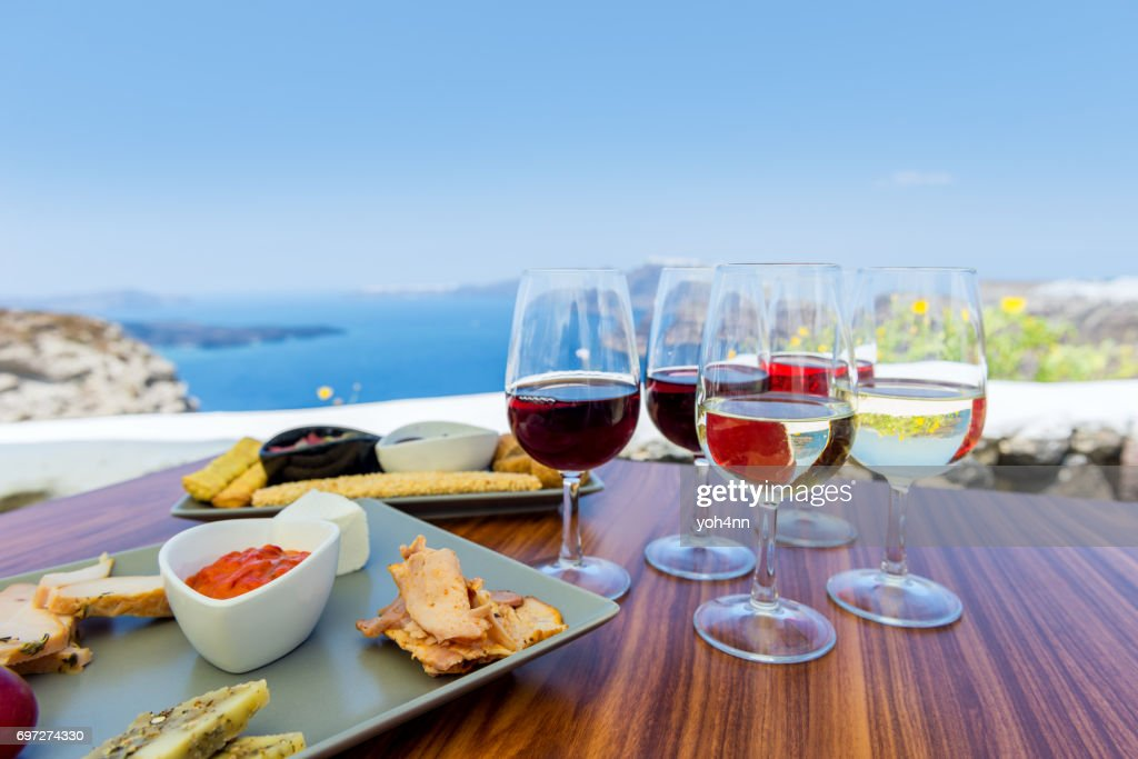 Tasting greek wine : Stock Photo