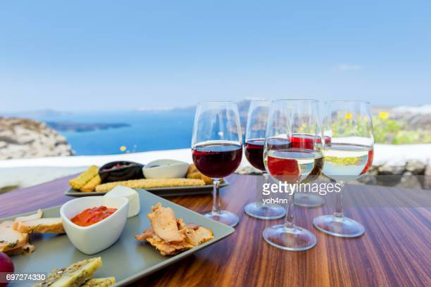 tasting greek wine - cyclades islands stock pictures, royalty-free photos & images