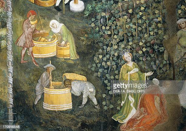 Tasting the new must 15th century fresco attributed to Bohemian Master Venceslao court painter of George of Liechtenstein Aquila Tower of...