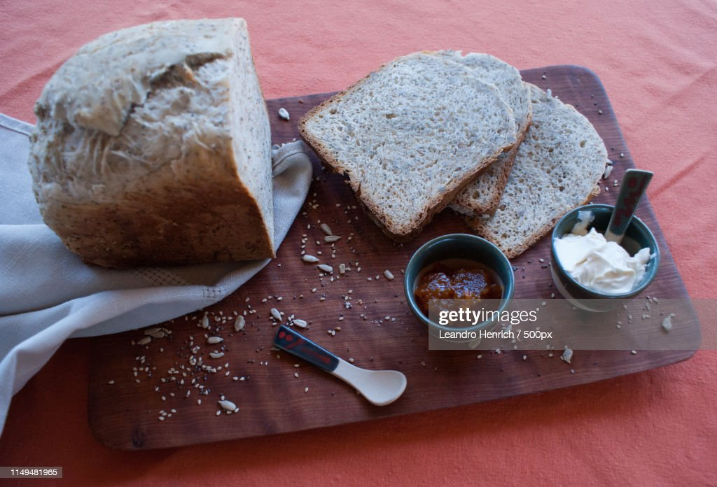 A Tasty And Healthy Breakfast In A Wooden Table Over A Brown Background : Stock-Foto
