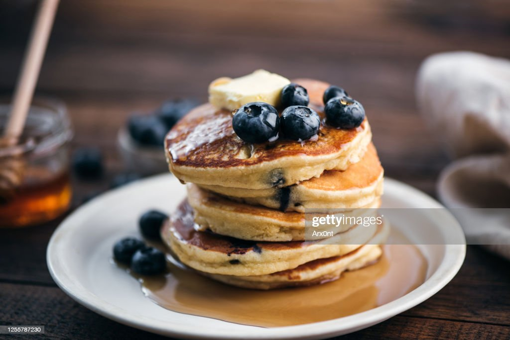 Tasty Blueberry Pancakes With Syrup : Stock Photo