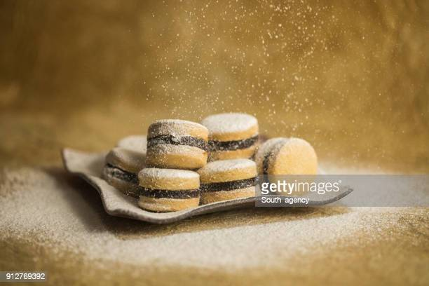 tasty cookies on a table - empty paper plate stock photos and pictures