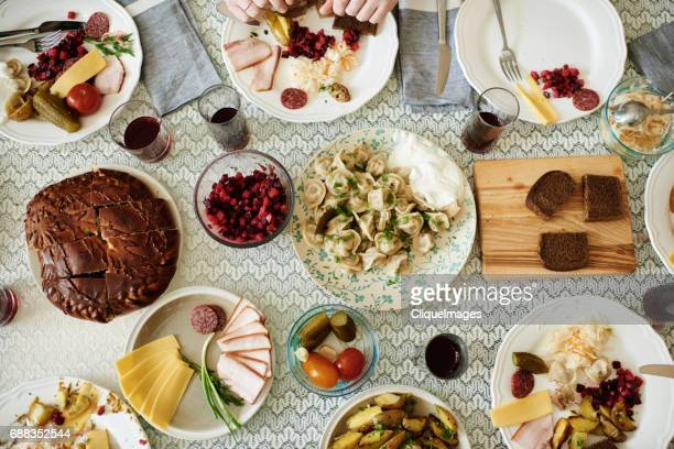 tasty eastern european cuisine on table - cliqueimages - fotografias e filmes do acervo