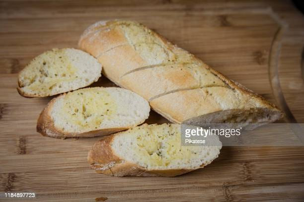 bread filled with garlic butter sliced