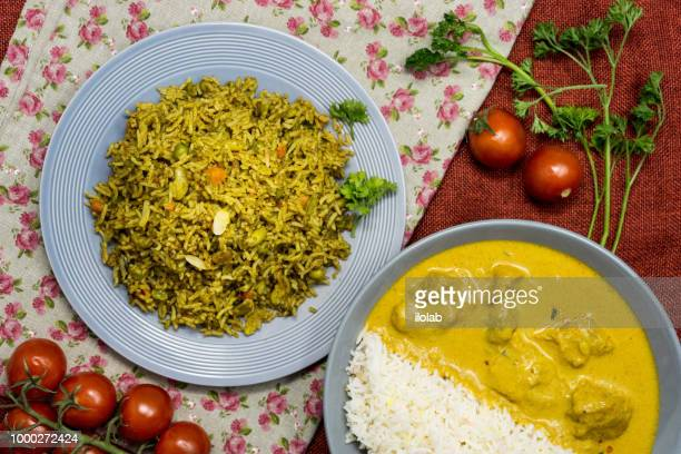 tasty indian food basmati rice on a plate - number of people stock pictures, royalty-free photos & images
