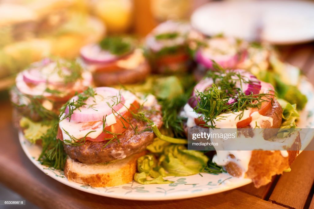 Tasty sandwiches with meat patty : Foto stock