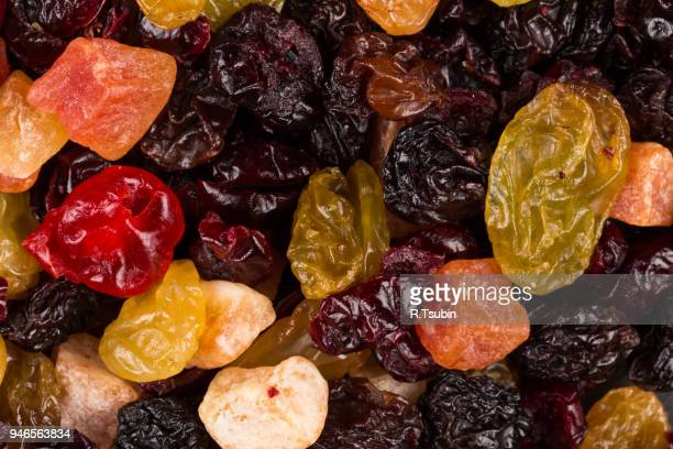 tasty sweet mix dried fruits colorful background