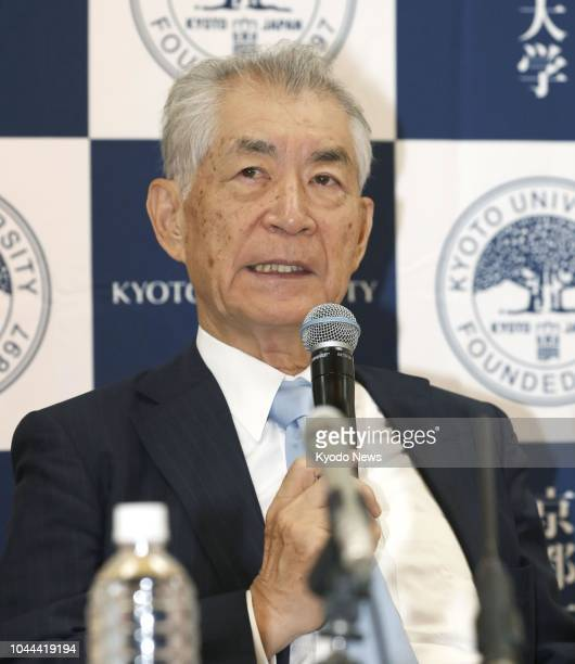 Tasuku Honjo a 76yearold Kyoto University professor and the joint winner of this year's Nobel Prize in physiology or medicine speaks during a press...