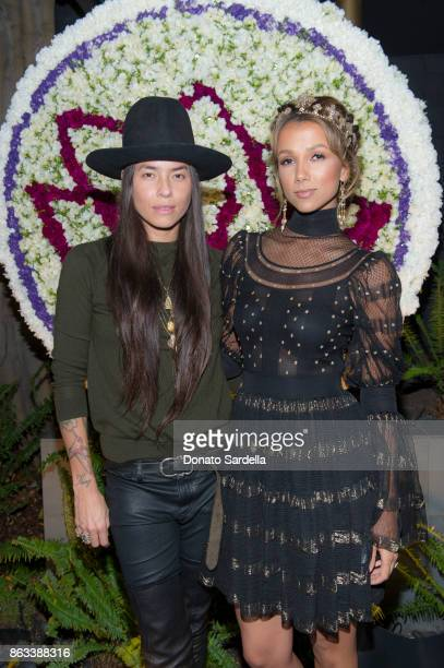 Tasya van Ree and Amie Satchu at Living Beauty 'The Gift' Photo Exhibit at The Buterbaugh Gallery on October 19 2017 in Los Angeles California