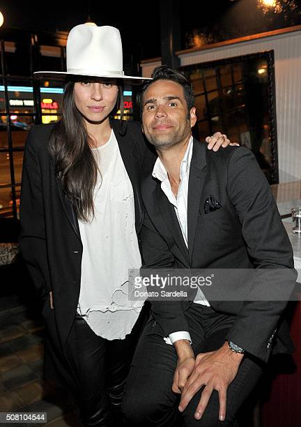 Tasya van Ree and Chris Norton attend the celebration of a collaboration between Garrett Leight California Optical Clare V at Marvin on February 2...