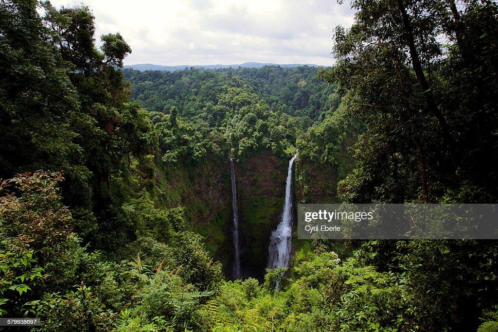 Tat Fan Twin Waterfalls, Laos : Stock Photo