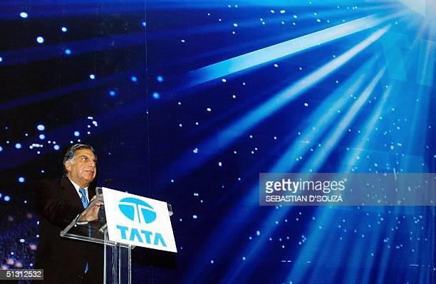 Tata Group Chairman Ratan Tata addresses a speech during the launch of the 'Tata Indigo Marina' in Bombay late 15 September 2004The Indigo Marina the...