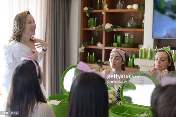 Tata Harper Skincare CEO Tata Harper Isabelle Fuhrman and Ahna O'Reilly attend the Tata Harper VIP Masterclass at Sunset Tower on December 14 2017 in...