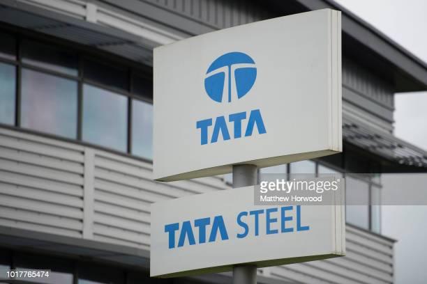 Tata Steel steelworks sign seen at Tata Steel's Llanwern steelworks on May 22, 2016 in Newport, United Kingdom.