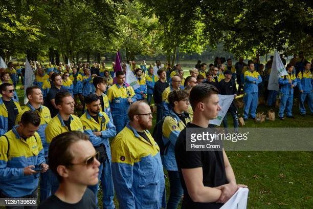 Tata Steel workers and students from the Tata Steel academy attend a rally prior to the Dutch parliamentary debate on the future of the steel plant...