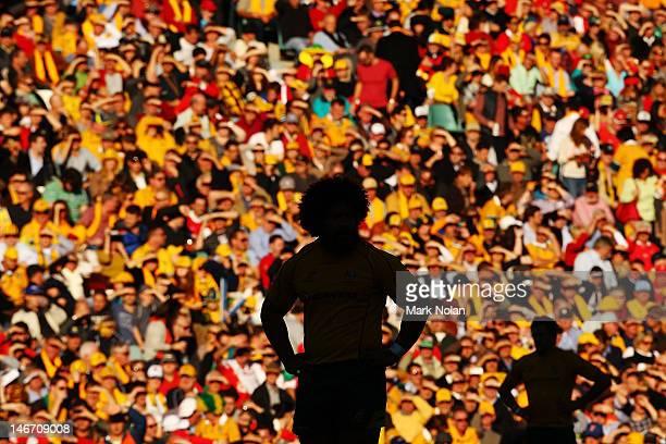 Tatafu Polota Nau of the Wallabies looks on during the International Rugby Test match between the Australian Wallabies and Wales at Allianz Stadium...