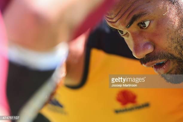 Tatafu Polota Nau practicing scrum during a Waratahs Super Rugby training session at Allianz Stadium on February 25 2014 in Sydney Australia