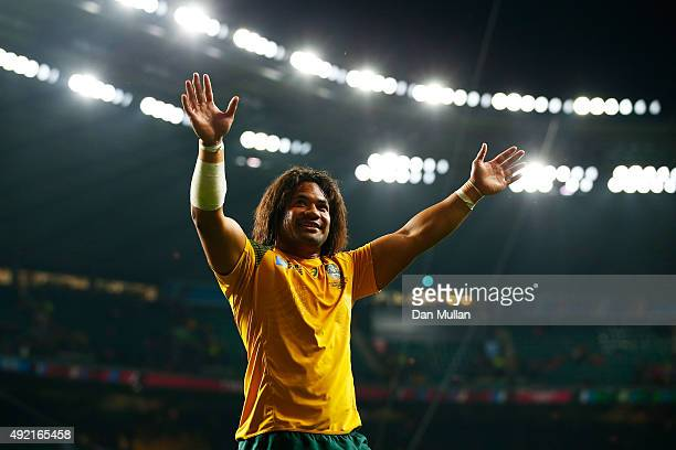 Tatafu PolotaNau of Australia celebrates after the 2015 Rugby World Cup Pool A match between Australia and Wales at Twickenham Stadium on October 10...