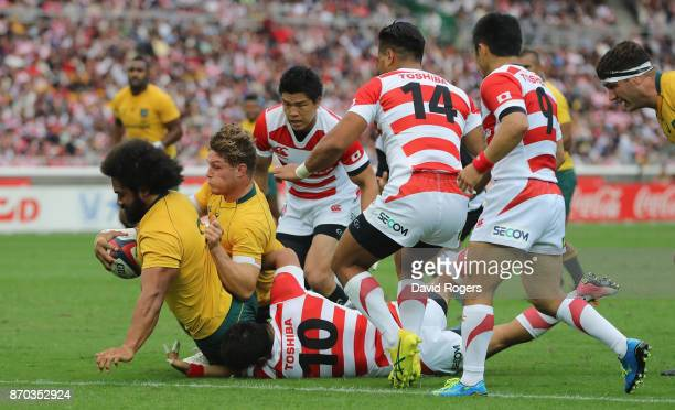 Tatafu PolotaNau of Australia scores a try during the rugby union international match between Japan and Australia Wallabies at Nissan Stadium on...