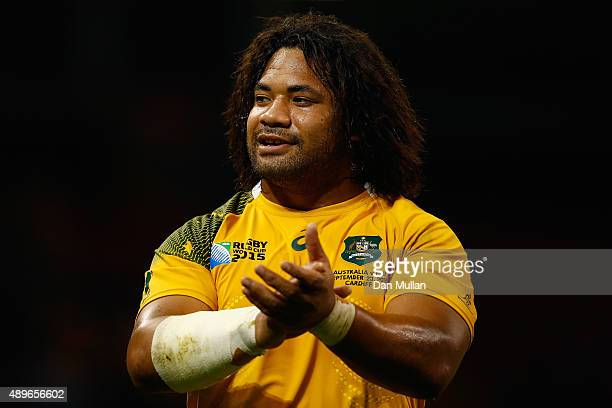 Tatafu PolotaNau of Australia waves to the crowd after the 2015 Rugby World Cup Pool A match between Australia and Fiji at the Millennium Stadium on...