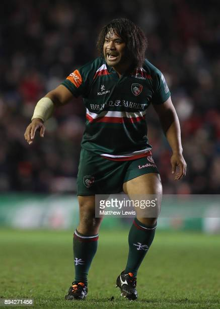 Tatafu PolotaNau of Leicester Tigers in action during the European Rugby Champions Cup match between Leicester Tigers and Munster Rugby at Welford...