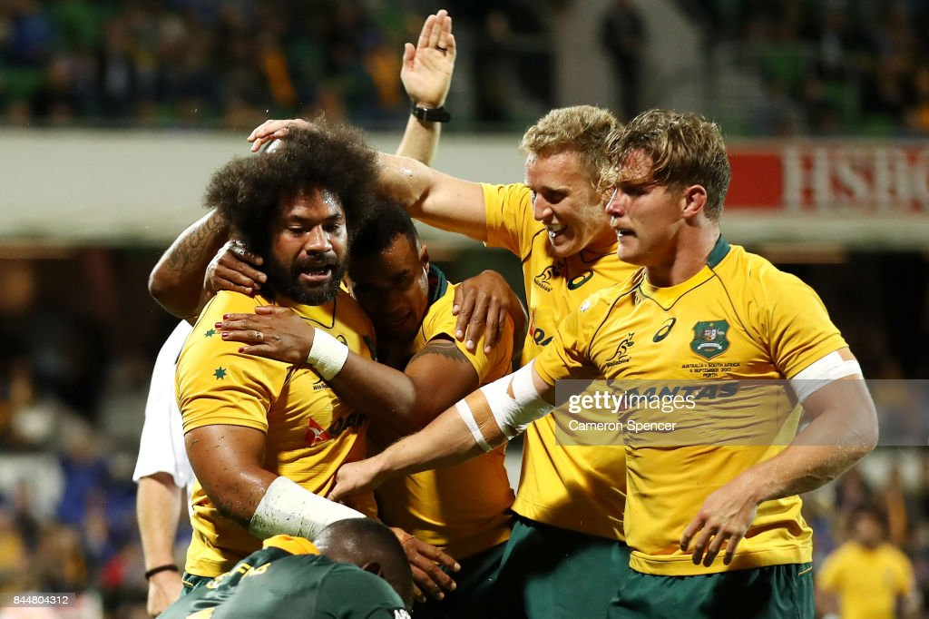 Tatafu Polota-Nau of the Wallabies celebrates scoring a try with team mates during The Rugby Championship match between the Australian Wallabies and the South Africa Springboks at nib Stadium on September 9, 2017 in Perth, Australia.