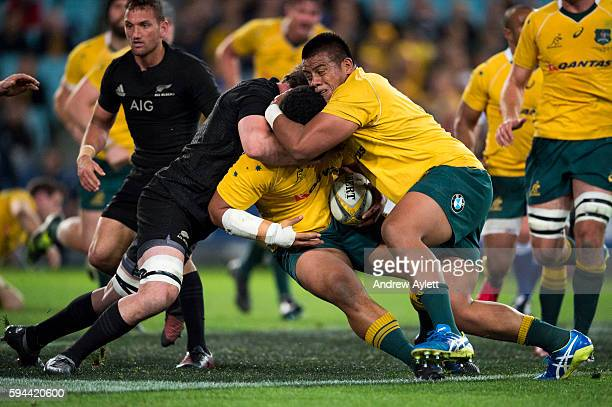 Tatafu PolotaNau of the Wallabies is tackled during The Rugby Championship Bledisloe Cup match between the Australian Wallabies and the New Zealand...