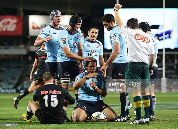 Tatafu PolotaNau of the Waratahs celebrates after scoring a try during the round four Super 14 match between the Waratahs and the Blues at Sydney...