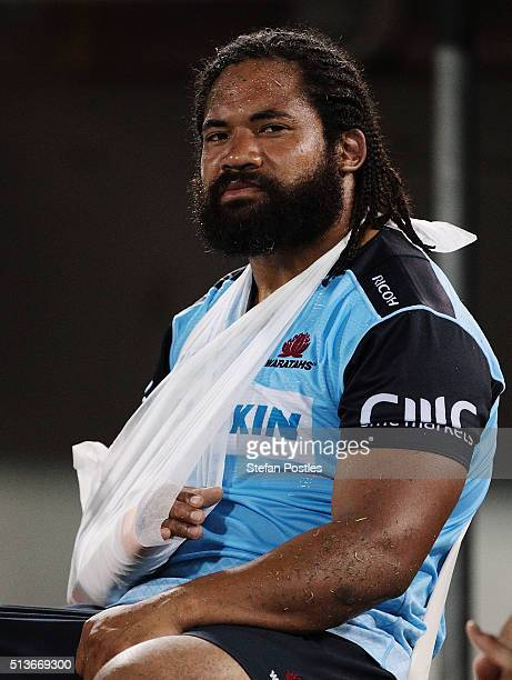 Tatafu PolotaNau of the Waratahs is injured during the round two NRL match between the Brumbies and the Waratahs at GIO Stadium on March 4 2016 in...
