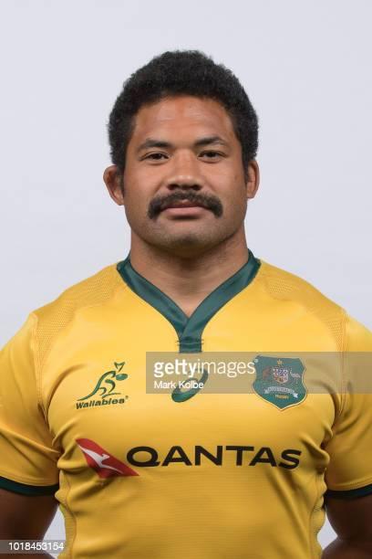 Tatafu PolotaNau poses during the Australian Wallabies Bledisloe Cup squad headshot session on August 5 2018 in Cessnock Australia