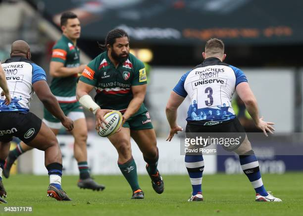 Tatafu PolotaNua of Leicester runs with the ball during the Aviva Premiership match between Bath Rugby and Leicester Tigers at Twickenham Stadium on...