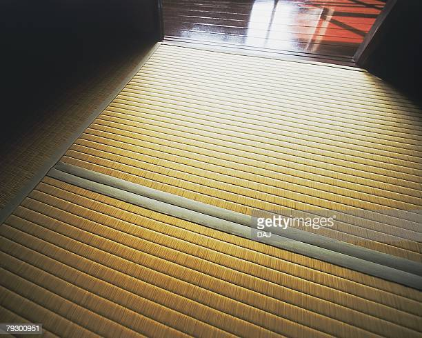 Tatami mat in Japanese style room, high angle view, Japan