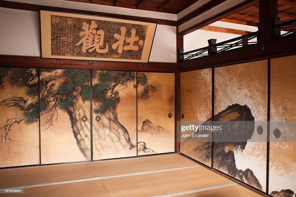 Tatami room and decorative fusuma or Japanese sliding doors at Ninnaji. Ninnaji is one of & Tatami room and decorative fusuma or Japanese sliding doors ...