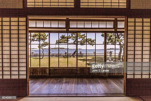 Tatami Room View of Hirobumi Garden at Nojima Koen Hirofumi Ito was Japans first prime minister He had a beautiful thatched roof villa built...