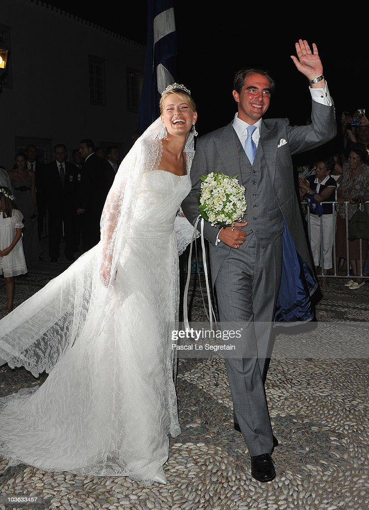 Tatania Blatnik and Prince Nikolaos of Greece after getting married at the Cathedral of Ayios Nikolaos (St. Nicholas) on August 25, 2010 in Spetses, Greece. Representatives from Europe�s royal families have joined the many guests who have travelled to the island to attend the wedding of Prince Nikolaos of Greece, the second son of King Constantine of Greece and Queen Anne-Marie of Greece and Tatiana Blatnik an events planner for Diane Von Furstenburg in London.