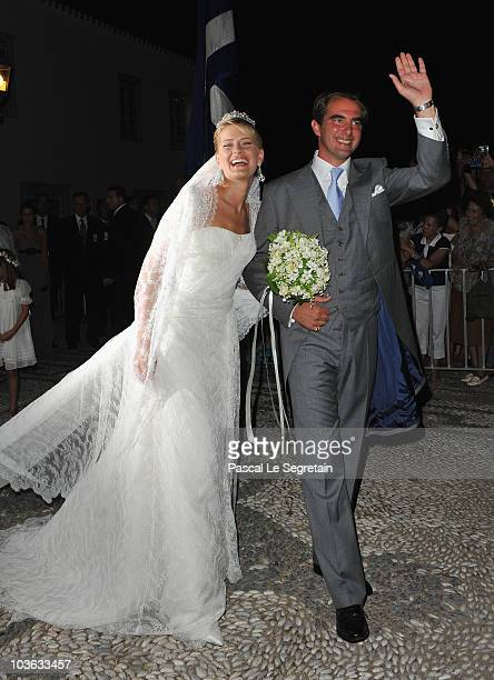 Tatania Blatnik and Prince Nikolaos of Greece after getting married at the Cathedral of Ayios Nikolaos on August 25 2010 in Spetses Greece...