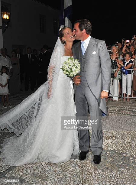 Tatania Blatnik and Prince Nikolaos of Greece outside the Cathedral of Ayios Nikolaos after their wedding ceremony on August 25 2010 in Spetses...