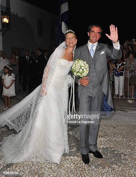 Tatania Blatnik and Prince Nikolaos of Greece walk outside the Cathedral of Ayios Nikolaos after their wedding ceremony on August 25 2010 in Spetses...