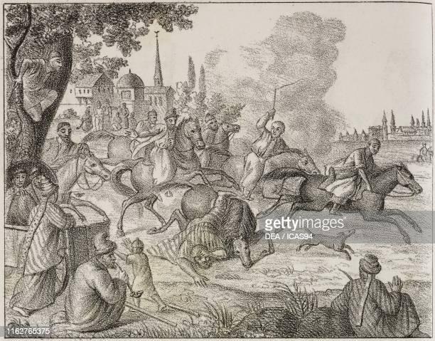 Tatar horse race Caucasus lithograph from Galleria universale di tutti i popoli del mondo ossia storia dei costumi religioni riti governi d'ogni...