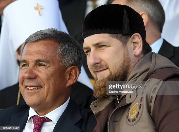 Tatarstan President Rustam Minnikhanov and Chechen President Ramzan Kadyrov attend an opening ceremony for the newly restored Moscow Cathedral Mosque...