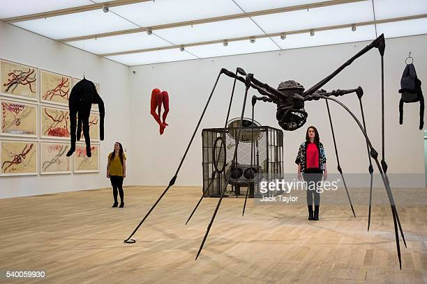 Tate employees pose with 'Spider' by Louise Bourgeois and 'Single II' by Louise Bourgeois at the Tate Modern's new Switch House on June 14 2016 in...