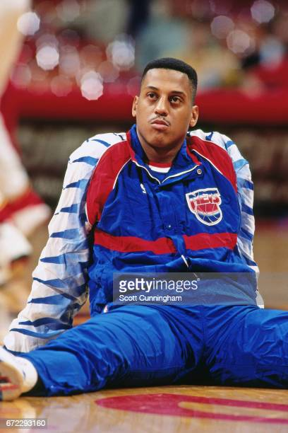 Tate George of the New Jersey Nets sits against the Atlanta Hawks during a game played circa 1990 at the Omni in Atlanta Georgia NOTE TO USER User...