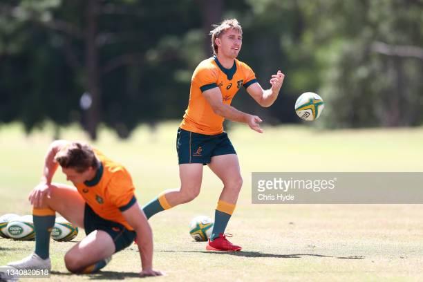 Tate McDermott during the Australian Wallabies Captain's Run at RACV Royal Pines Resort on September 17, 2021 in Gold Coast, Australia.