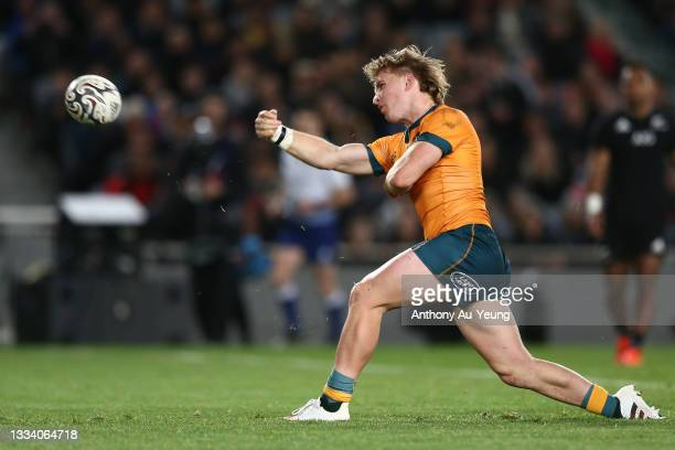 Tate McDermott of the Australian Wallabies celebrates his try during The Rugby Championship and Bledisloe Cup match between the New Zealand All...