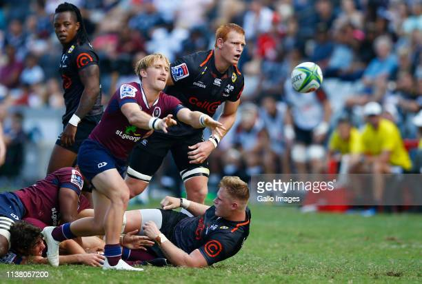 Tate McDermott of The StGeorge Queensland Reds during the Super Rugby match between Cell C Sharks and Reds at Jonsson Kings Park Stadium on April 19...